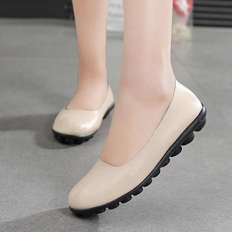 Sapatos femininos de couro genuíno sapatos femininos casuais sapatos de couro de vaca