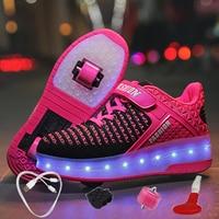 38d47d770 ... обувь для мальчиков и девочек автоматический Jazzy светодиодный  светящийся мигающий де. USB Charging Children Roller Skate Casual Shoes  Boys Girl ...