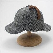 e5118a1f9ed84 Berets Caps For Men Winter Woman Cosplay Cap Detective Sherlock Holmes  Deerstalker Hat Gray Caps(