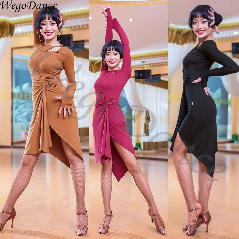 New Long Sleeve Latin Dress Professional Dance Blackpool Performance Practice Costume Woman Freeshipping