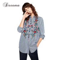 Elegant Blue Striped Floral Embroidery Blouse Shirt Women Spring Autumn Long Sleeve Turn Down Collar Casual
