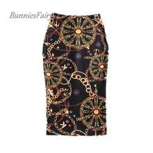 BunniesFairy 2017 Summer New Women Chic Vintage Floral Print High Waist Bodycon Long Pencil Skirt Falda Jupe Femme Tube Slim XXL