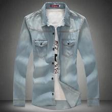 2016 neue Ankunft Marke Männer Hemd Beiläufige mens Fashion Denim Shirts mit Langarm männer Jeans Shirts für Männer jeanshemd männer