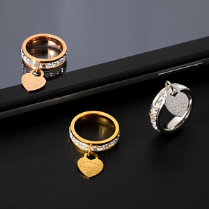 MSX Wholesale Stainless Steel Rings Wedding Engagement Love Heart Charm Rings Elegant Cubic Zirconia Big Finger Rings For Women