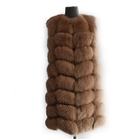 2018 New Real Fox fur Women Long Vest Leather Fashion Luxury Thick Warm Coat Jacket Solid Color Fur Vests Women Coats