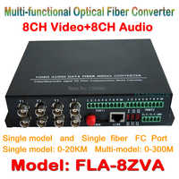 8ch Video Audio fiber optical media transceiver 8ch video + 8CH audio  to Fiber Optical Converter Integrated for CCTV AV System