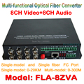 8ch Áudio e Vídeo transceptor de fibra óptica conversor de mídia de vídeo 8ch + 8CH áudio para Conversor De Fibra Óptica Integrada para CCTV AV sistema