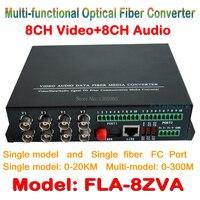 8ch Vidéo Audio fiber optique médias émetteur-récepteur 8ch vidéo + 8CH audio à Fiber Optique Convertisseur Intégré pour CCTV AV système
