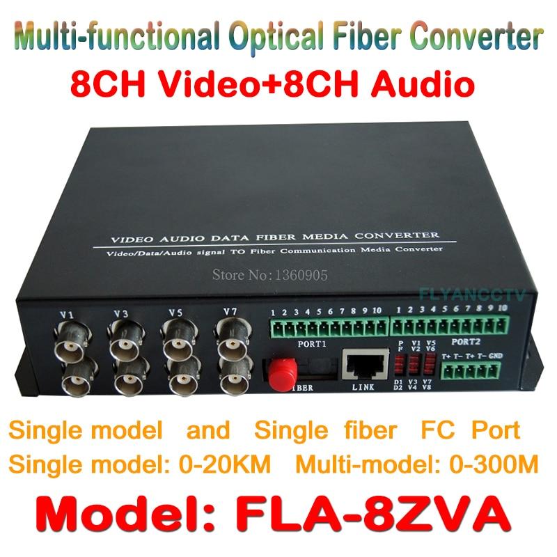 8ch Video Audio fiber optical media transceiver 8ch video + 8CH audio to Fiber Optical Converter Integrated for CCTV AV System new 8ch