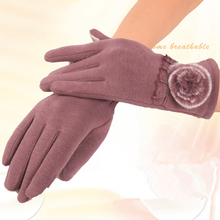 Fashion Elegant Womens Touch Screen Gloves Winter Ladies Lace Warm Cashmere Bow Full Finger Mittens Wrist Guantes Gloves KYY8110