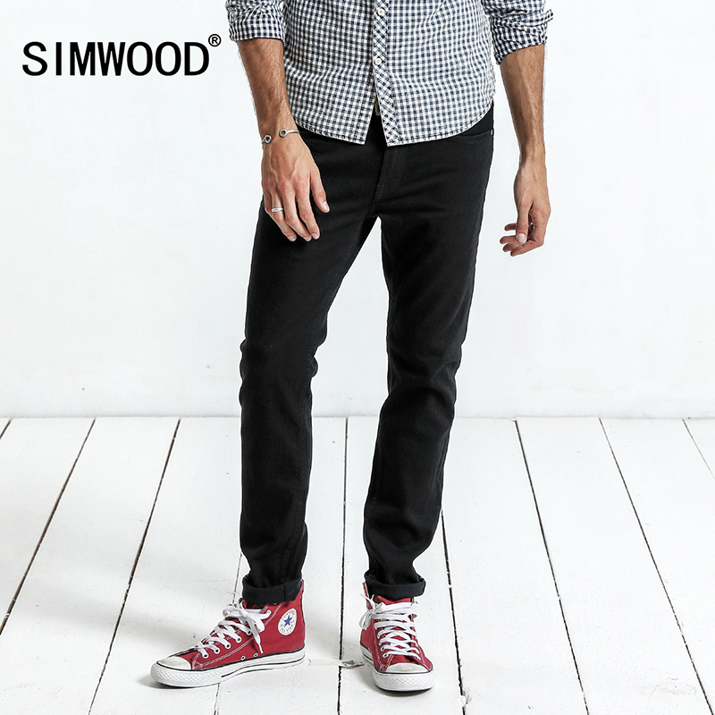 SIMWOOD 2017 Winter New Redline Jeans Men Slim Fit High Quality Black Casual Denim Trousers Skinny Fashion Jeans NC017057 simwood 2018 summer new jeans men ripped ankle length fashion hole hip hop denim trousers slim fit streetwear plus size 180116