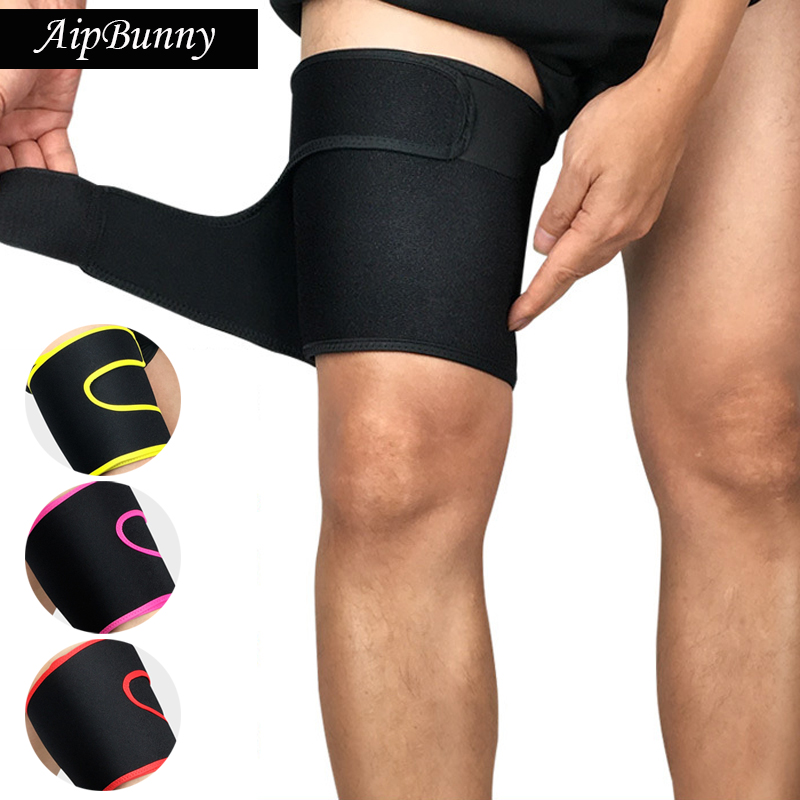 AipBunny 2Pcs Adjustable Leg Sleeve Support Brace Knee Pads Basketball Sport Stretch Brace Thigh Skin Protector Safe ...