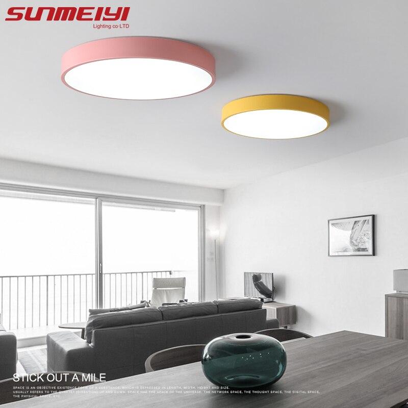 Nórdico acrílico redonda LED Luces de techo Creative macarons luminaria LED Teto Sala niños habitación pasillo decoración del hogar