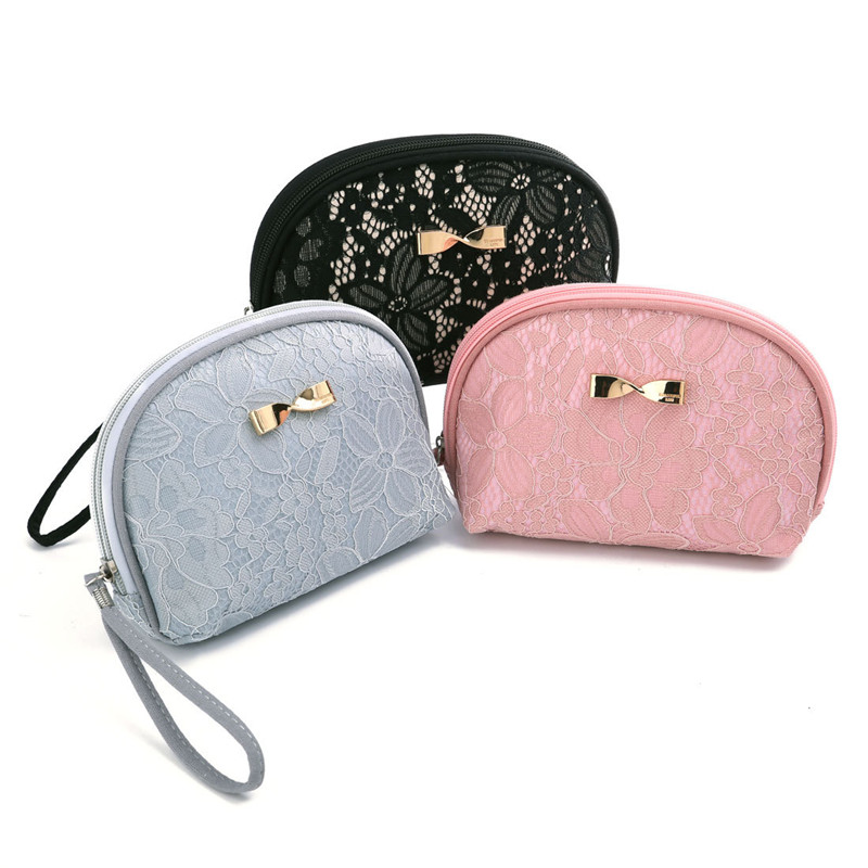 Womens Lace Design Shell Cosmetic Bag Female Travel Makeup Vanity Cases Box Organizer Beauty Toiletry Tools Lipstick Accessory