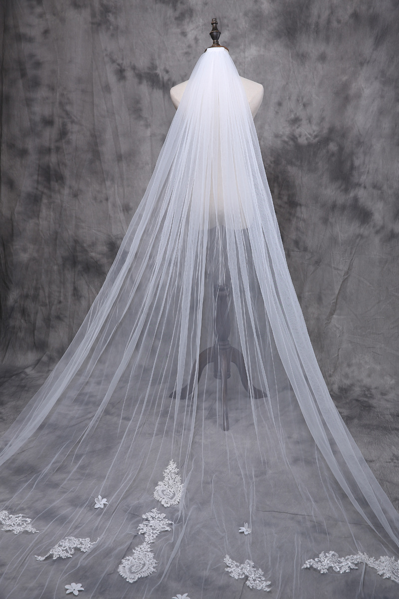 Long Lace Wedding Veil Simple 3 Metros Ivory Veils For Dress Was10006 In Bridal From Weddings Events On