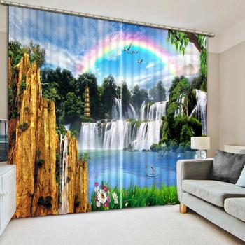 Customized size Luxury Blackout 3D Window Curtains For Living Room rainbow curtains waterfall curtain