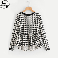 Sheinside Frilled High Low Houndstooth Blouses 2017 Round Neck Long Sleeve Ruffle Tiered Cute Blouse Women
