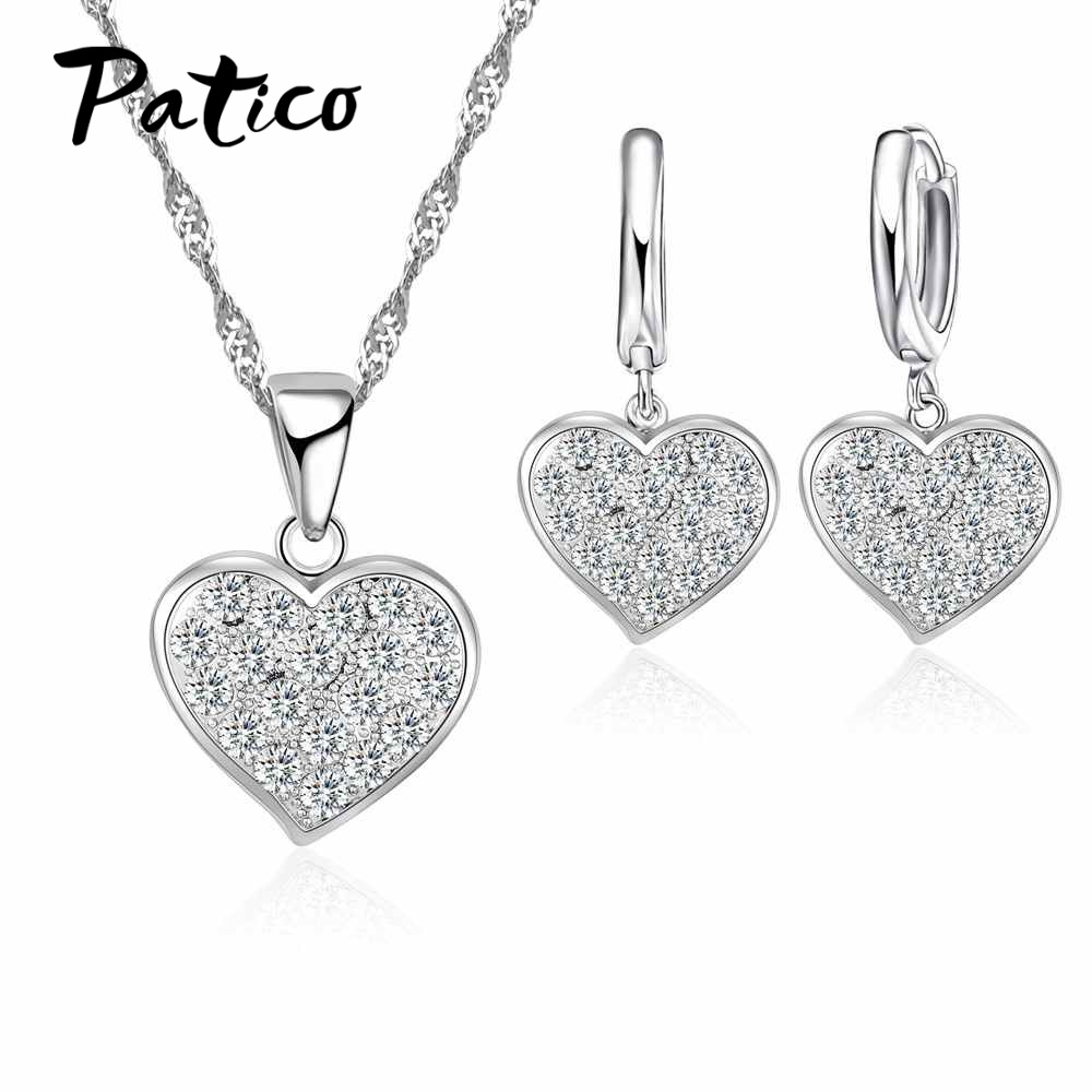 PATICO Sparkling Present Gift for Women Cubic Zircon Heart Shape S90 Silver Collar Necklace Earrings Bridal Jewelry Set