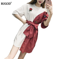 Summer Dress Rose Embroidery T Shirt Dress Plaid Fake 2 Piece With Bow Vestidos Sexy One