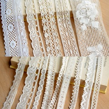 hot sale Apparel Sewing Fabric DIY Ivory Cream Black Trim Cotton Crocheted Lace Ribbon Handmade Accessories Craft E114