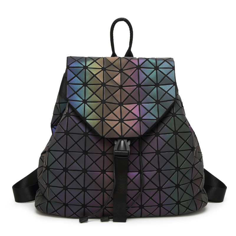 New Women Luminous Backpacks Female Fashion Girl Daily Backpack Geometry Package Sequins Folding Bags School Bags