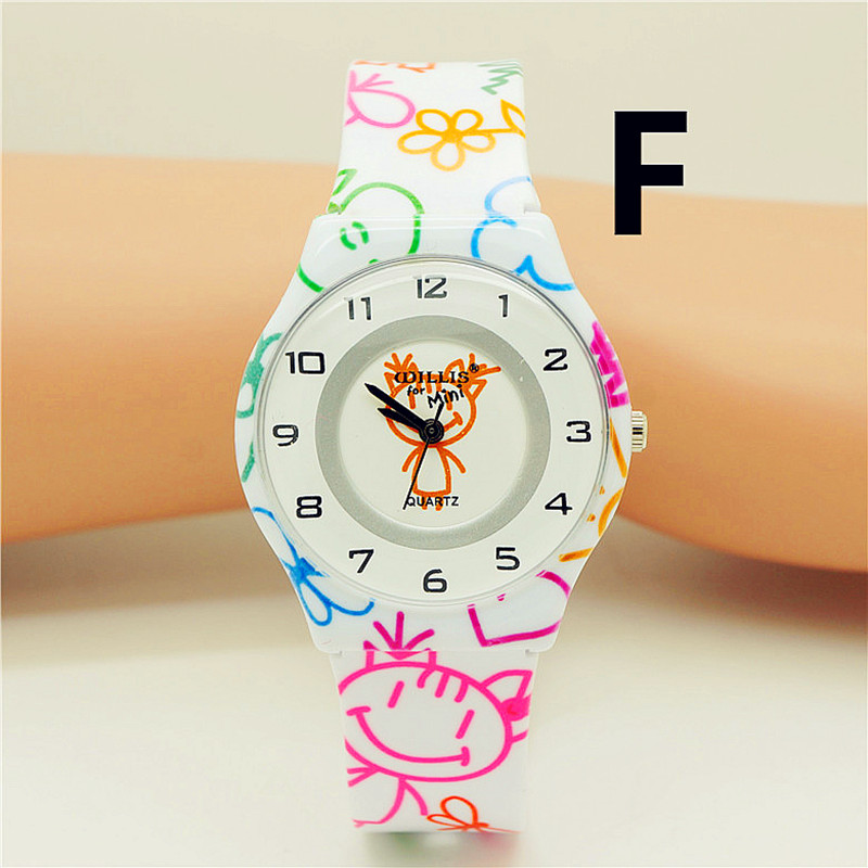 New Arrived Children Thin Graffiti Strap Cartoon Wristwatches Women Promotion Dress Gift Colorful Waterproof El Reloj Watch