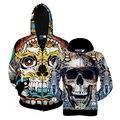 2016 New Autumn Style Men/Women Long Sleeve Zipper Hoodies Souls Punisher Print 3D Skull Sweatshirt Cotton Hooded Clothings BL7