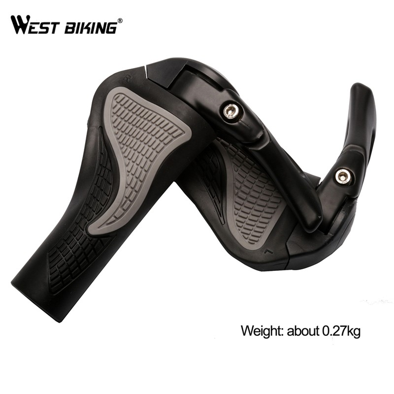 WEST BIKING MTB Bike Grips Anti-Skid Ergonomic Bicycle Grips Bike Bar ends Handlebars Rubber Push On Bicycle Parts Cycling Grips 19