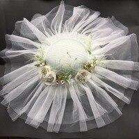 BIg Wedding Hat White Veil Headwear For Bride 2018 Mesh Flower Fascinator Hat Party Cocktail Derby Fancy Show Ladies Headpiece