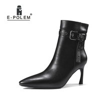 2018 New Fashion Female Genuine Leather Boots Pointed Toe Buckle Ankle Boots High Heel Women Casual Short Zip Boots zip high heel vintage platform women casual footwear martins boots metal decoration ankle microfiber genuine leather fashion