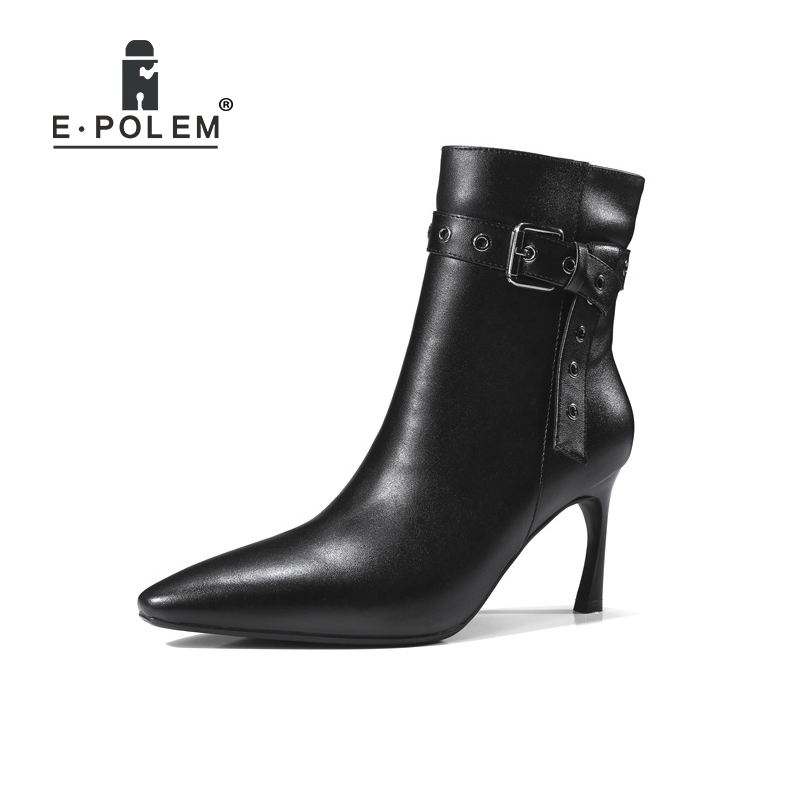 2018 New Fashion Female Genuine Leather Martin Boots Pointed Toe Buckle Ankle Boots High Heel Women Casual Short Zip Boots 2017 fashion new red horsehair women ankle boots square high heel short booties autumn zip up martin botines mujer women pumps