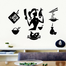 Artistic Restaurant Cook Food Wall Sticker Home Decor Background For Kitchen Room Stickers Art Decal