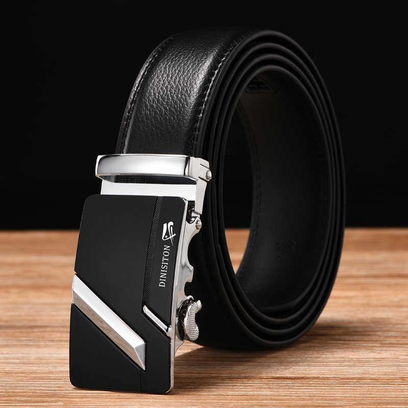 Dinisiton Baru Desainer Pria Kulit Asli Sabuk Kualitas Tinggi Otomatis Gesper Sabuk Pria Tali Cinturones Hombre LZD004-5