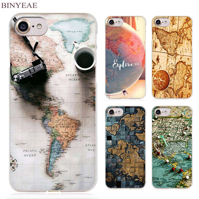 World Map Iphone 6s Case.Binyeae World Map Travel Plans Clear Cell Phone Case Cover For Apple