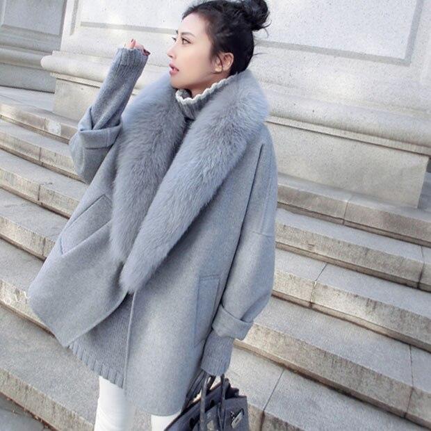 women winter jacket coat cashmere coat female Natrue fluffy large fur coats cloak warm loose cocoon