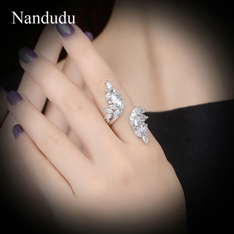 Nandudu Angel wing cocktail ring AAA zircon cluster finger rings wedding fashion women jewelry gift R975 nandudu luxury rose gold color ring with for women wedding aaa zircon crystal rings jewelry r1814
