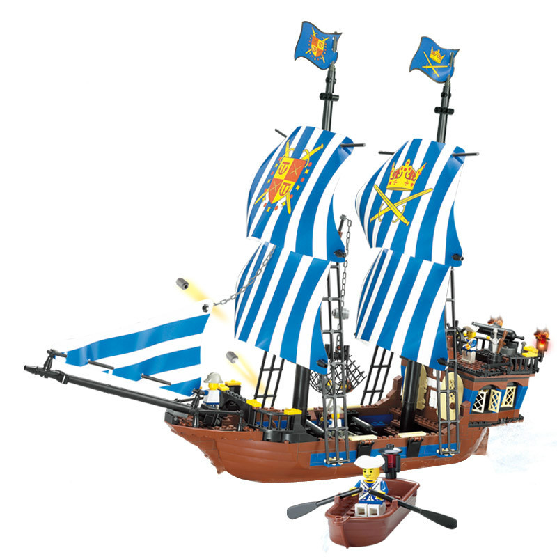 Kazi 608PCS Pirates Kings Pirate Ship Model Building Blocks Sets figures Compatible With Lego susengo pirate model toy pirate ship 857pcs building block large vessels figures kids children gift compatible with lepin