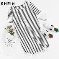 SHEIN Womens Tassel Trim Dolphin Hem Striped Tee Dress Summer Black And White Short Sleeve Casual
