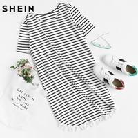 SHEIN Frauen Quaste Trimmen Delphin Rand Gestreiften T-shirt-kleid Sommer Schwarz und Weiß Kurzarm Casual t-shirt Kleid