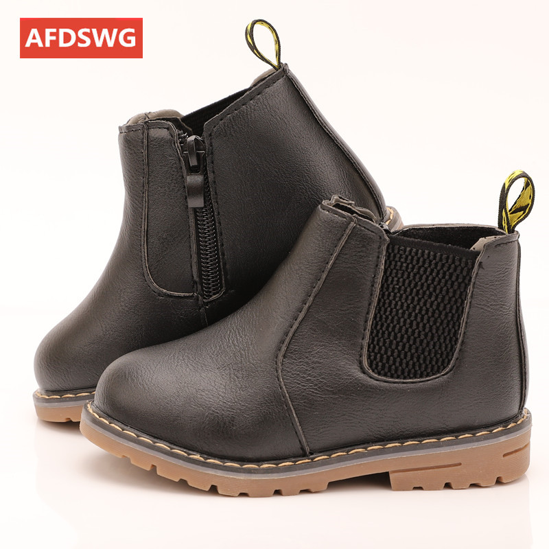 AFDSWG spring and autumn kids booties black low heel leather boots girls gray kids leather boots brown martin boots kids(China)