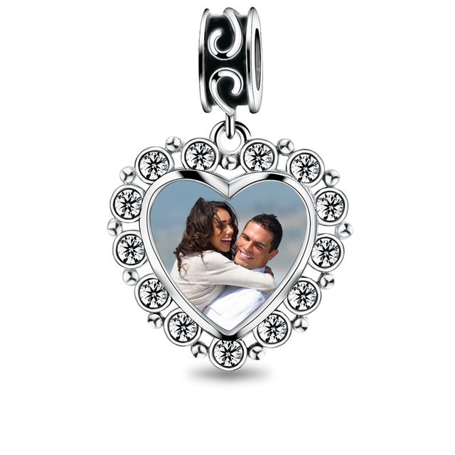Personalized Heart Photo Charm With Crystal Fit Engraved Charms Bracelet