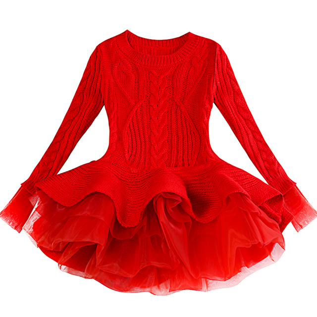 cc1f44f92 Kids Thick Warm Girl Dress Christmas Wedding Party Dresses Knitted ...