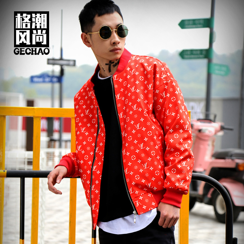 Charitable M-6xl!! Trendy Red Prints Top Fashion Show Personality Outerwear Elements Street Hip-hop Baseball Jacket Jacket Clothing C.