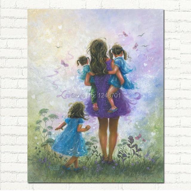 tangan dicat lukisan minyak pada kanvas ibu dengan 3 gadis ungu dan biru wall art untuk kamar. Black Bedroom Furniture Sets. Home Design Ideas