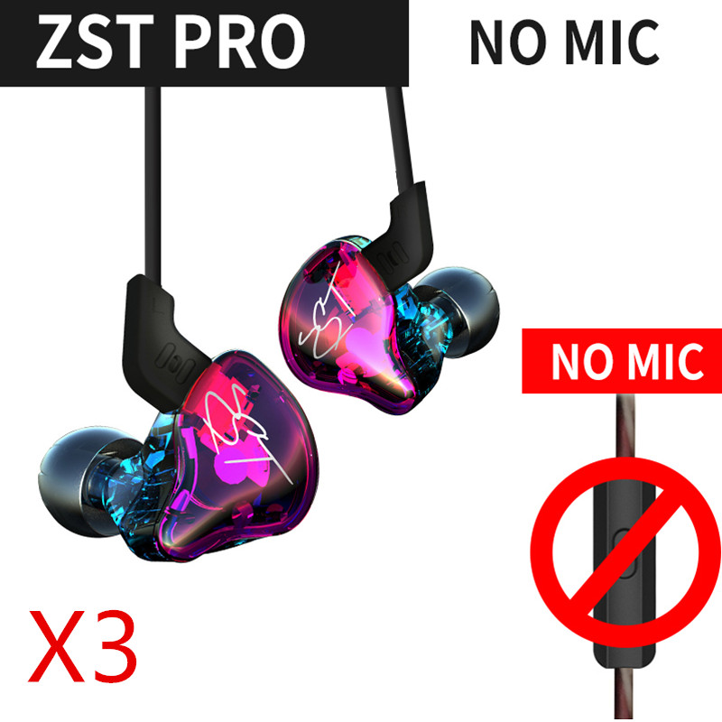 KZ ZST Pro Hybrid technology 1DD+1BA 3PC In Ear Earphone Hybrid Headset HIFI Bass Noise Cancelling For iphones for music qkz kd8 dual driver noise isolating bass in ear hifi earphone for phone wired stereo microphone control headset for music