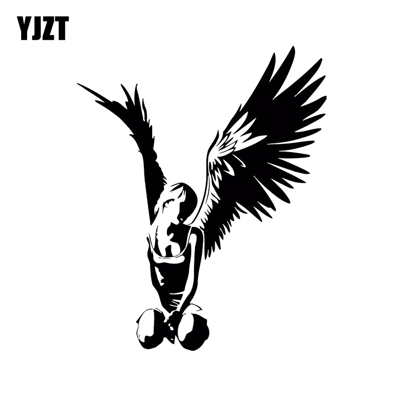 YJZT 14.3*11.7CM Beautiful Elegant Angel Car Sticker High Quality Covering The Body Decal Black/Silver C20-1308