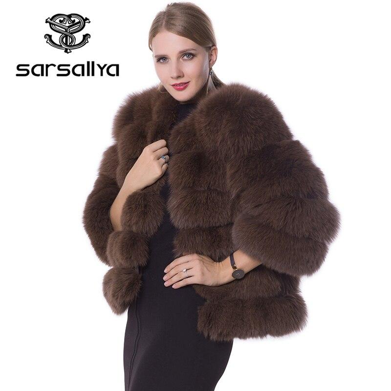 Real Fur Coat Women Blue Fox Fur Jacket Coat Winter Natural Fur Coat short Detachable Sleeves
