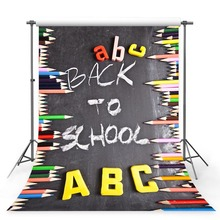 MEHOFOTO Photography Background Back To School Celebration Party Decor Colored English Alphabet Pencil Children Backdrop booth