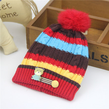 Knitted Baby Hat Cartoon Label Bear Animal Hats for Kids Solid Christmas Baby Girl Winter Hat Warm Toddler Hat