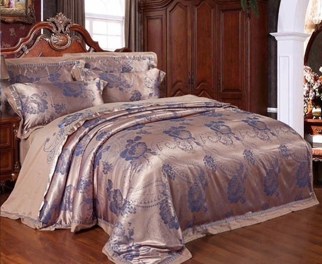 Tribute Silk Jacquard Blue Beige Bedding Sets Queen King 4pcs 6pc Bed Sets  Embroidery Duvet Cover